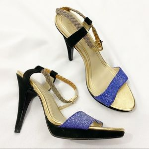 Juicy Couture Alexa Gold Strap Leather Heels 8